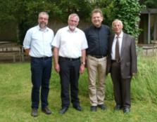 EVS Vorstandsdelegation (von links nach rechts): Anselm Kreh – Klaus Schmid (Präsident) – Rev.Dr. Uwe Gräbe (Nahostreferent ems) – Basil Risch- maui